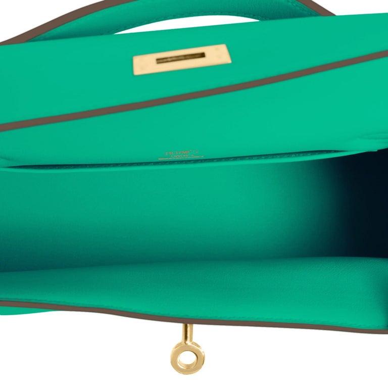Hermes Kelly Pochette Menthe Gold Hardware Clutch Cut Bag Z Stamp, 2021 For Sale 1