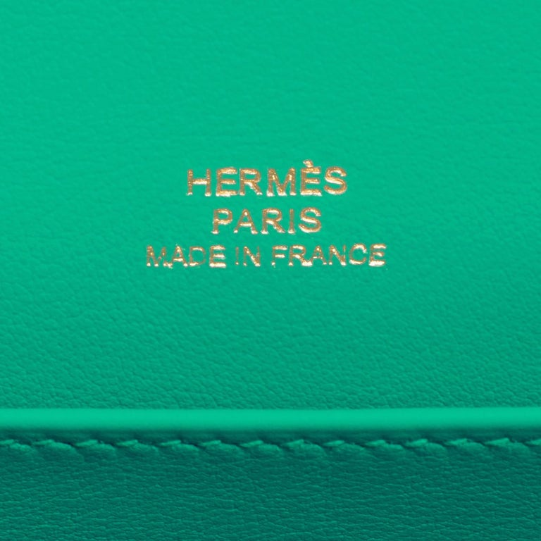 Hermes Kelly Pochette Menthe Gold Hardware Clutch Cut Bag Z Stamp, 2021 For Sale 2