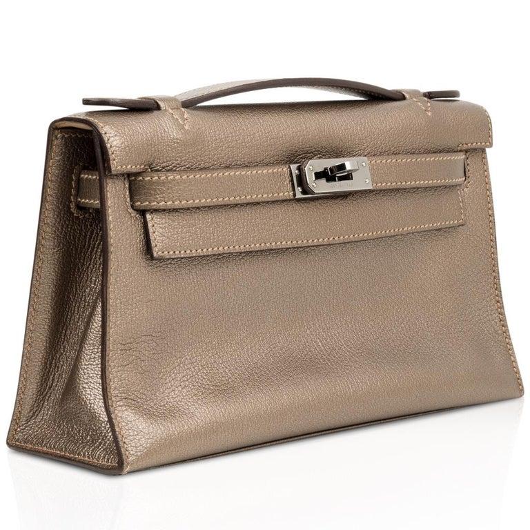 Brown  Hermes Kelly Pochette Metallic Bronze Clutch Bag Chevre Palladium For Sale