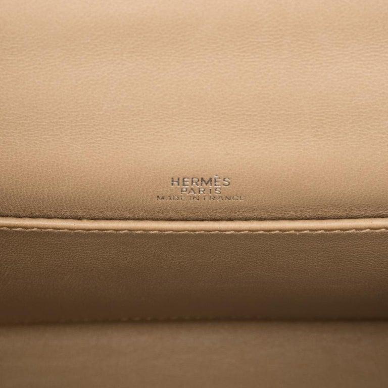 Hermes Kelly Pochette Metallic Bronze Clutch Bag Chevre Palladium For Sale 3