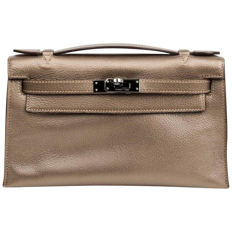 Hermes Kelly Pochette Metallic Bronze Clutch Bag Chevre Palladium For Sale