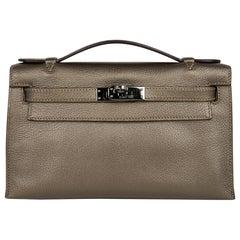 Hermes Kelly Pochette Metallic Bronze Clutch Bag Chevre Palladium