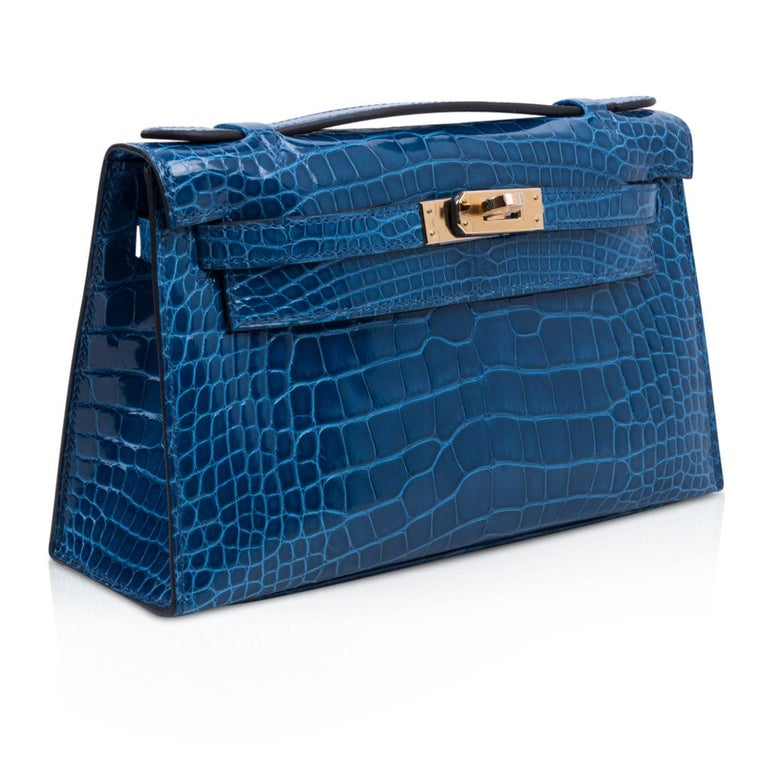 Blue Hermes Kelly Pochette Mykonos Alligator Gold Hardware For Sale