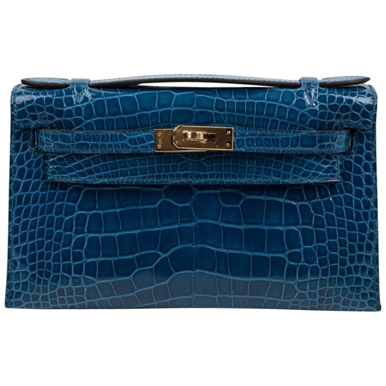 Hermes Kelly Pochette Mykonos Alligator Gold Hardware For Sale 4