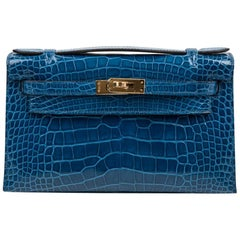 Hermes Kelly Pochette Mykonos Alligator Gold Hardware