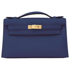 Hermes Kelly Pochette Navy Blue Gold Hardware Clutch Cut Bag Y Stamp, 2020