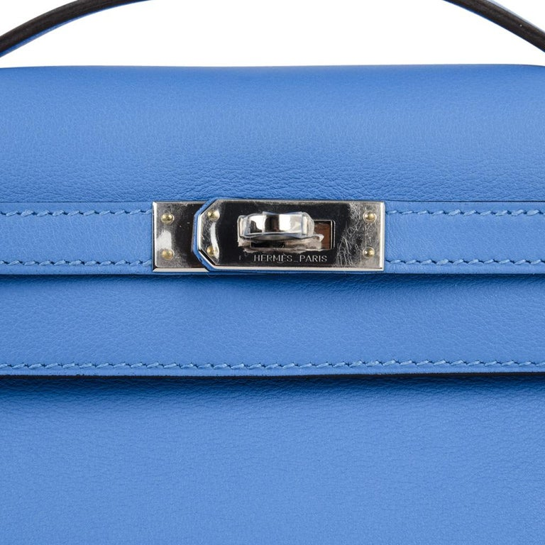 Hermes Kelly Pochette Sublime Blue Paradis Swift Palladium In New Condition For Sale In Miami, FL