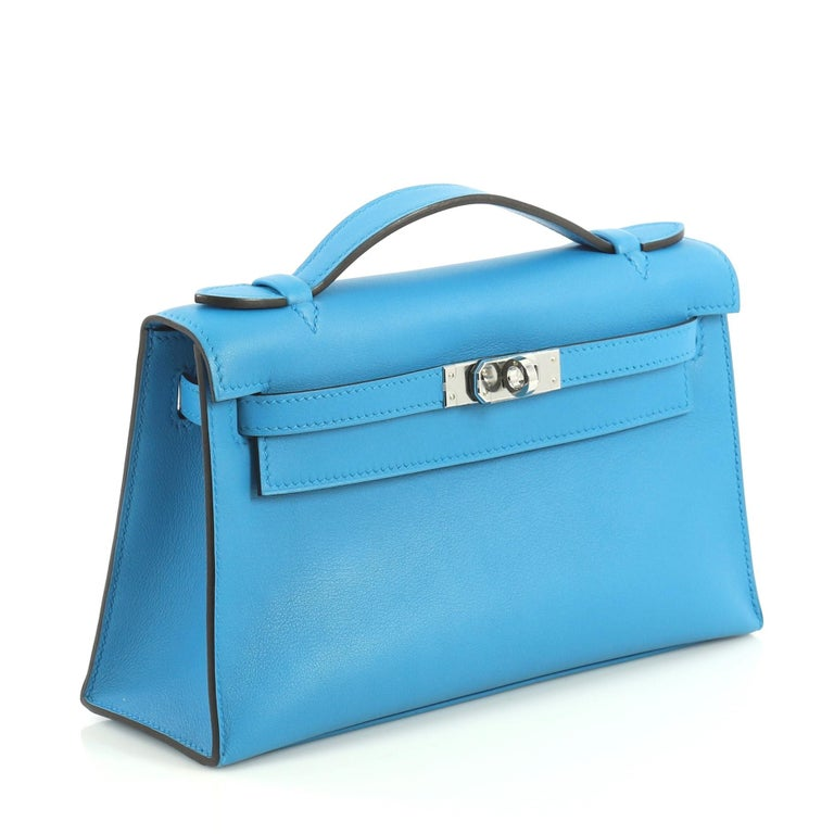 Blue Hermes Kelly Pochette Swift For Sale