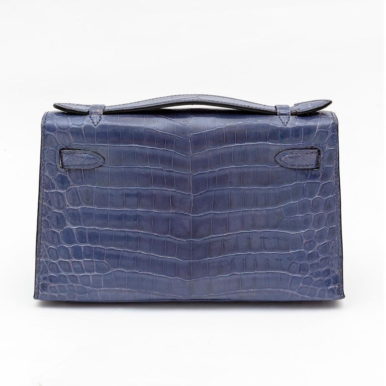 Hermes Kelly Pochette with Diamonds in Brighton Blue In Excellent Condition In London, GB