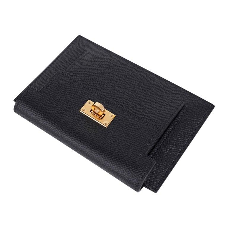 Black Hermes Kelly Pocket Compact Wallet Noir Epsom Gold Hardware New w/Box For Sale