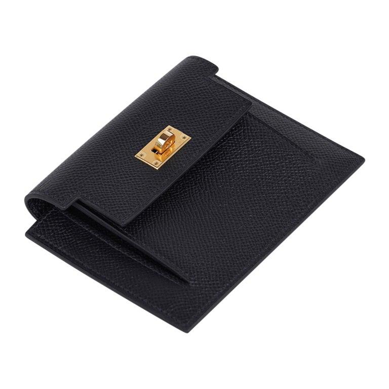 Women's Hermes Kelly Pocket Compact Wallet Noir Epsom Gold Hardware New w/Box For Sale