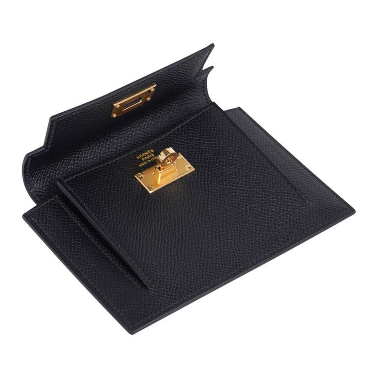 Hermes Kelly Pocket Compact Wallet Noir Epsom Gold Hardware New w/Box For Sale 1