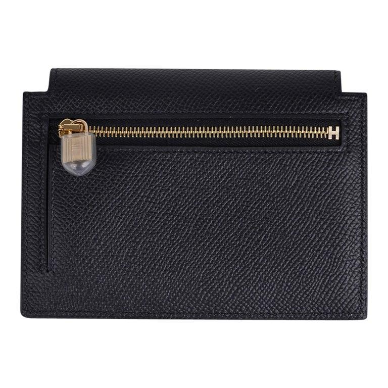 Hermes Kelly Pocket Compact Wallet Noir Epsom Gold Hardware New w/Box For Sale 2