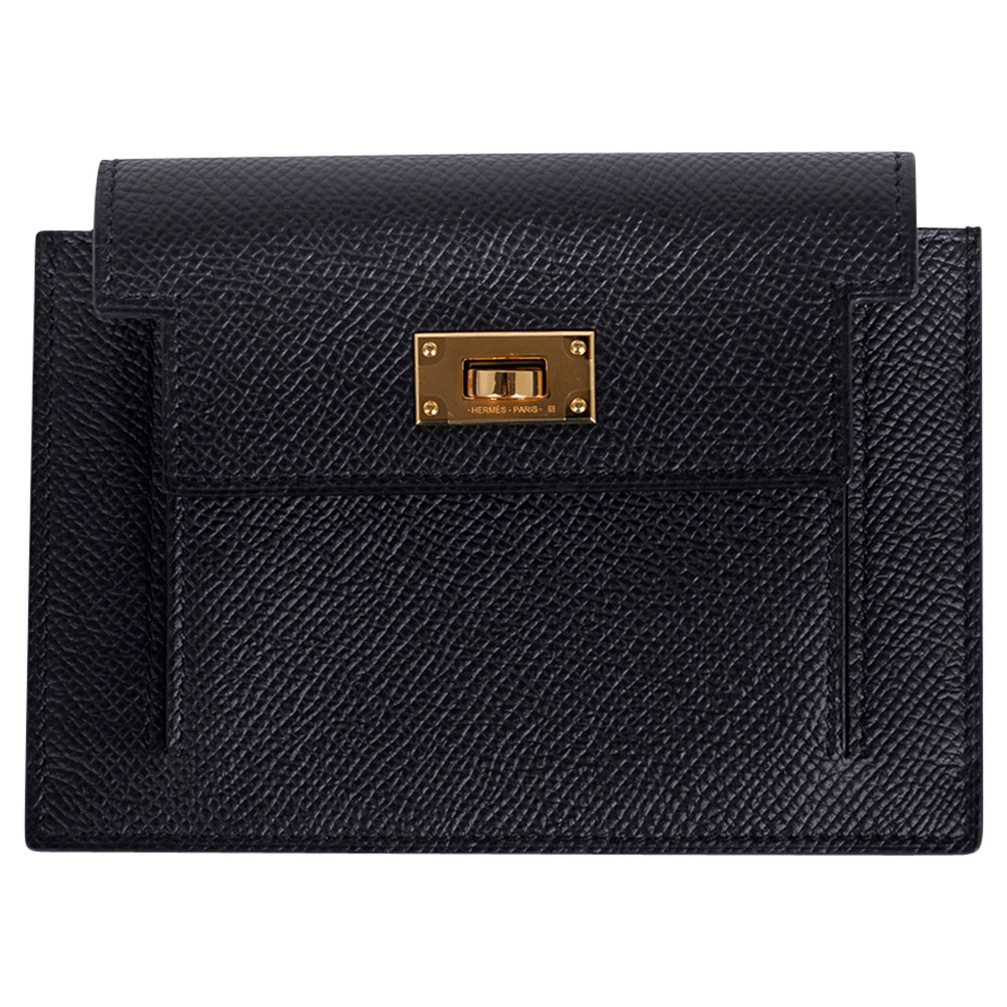 Hermes Kelly Pocket Compact Wallet Noir Epsom Gold Hardware New w/Box