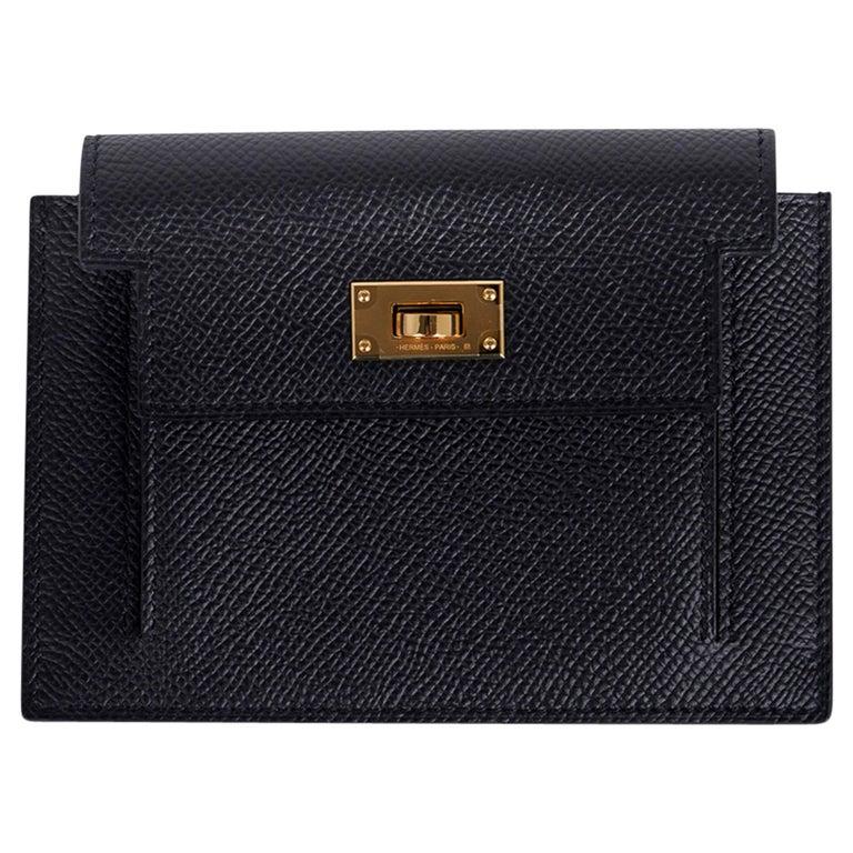 Hermes Kelly Pocket Compact Wallet Noir Epsom Gold Hardware New w/Box For Sale