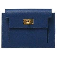 Hermes Kelly Pocket Epsom Compact Wallet Blue
