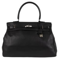 Hermès Kelly Relax 50 Travel Bag Black Sikkim Leather PHW