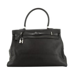 Hermes Kelly Relax Handbag Noir Veau Sikkim With Palladium Hardware 50