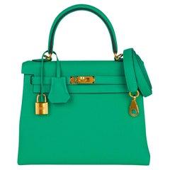 Hermes Kelly Retourne 25 Bag Menthe Togo Gold Hardware New w/Box