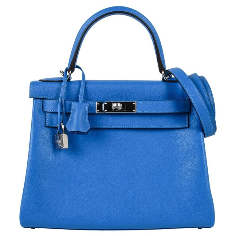 Hermes Kelly Retourne 28 Bag Vivid Blue Hydra Mediterranean Blue Evercolor  For Sale