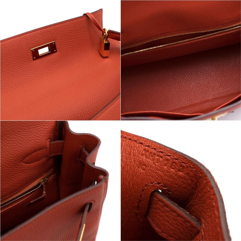 Hermès Kelly Retourné 28 in Rosy Togo Leather GHW For Sale 1