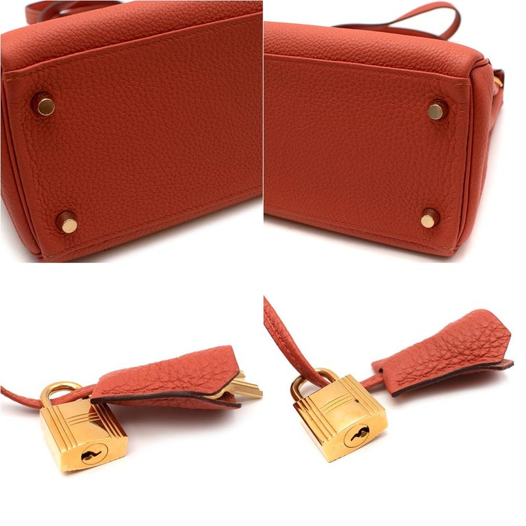 Hermès Kelly Retourné 28 in Rosy Togo Leather GHW For Sale 2