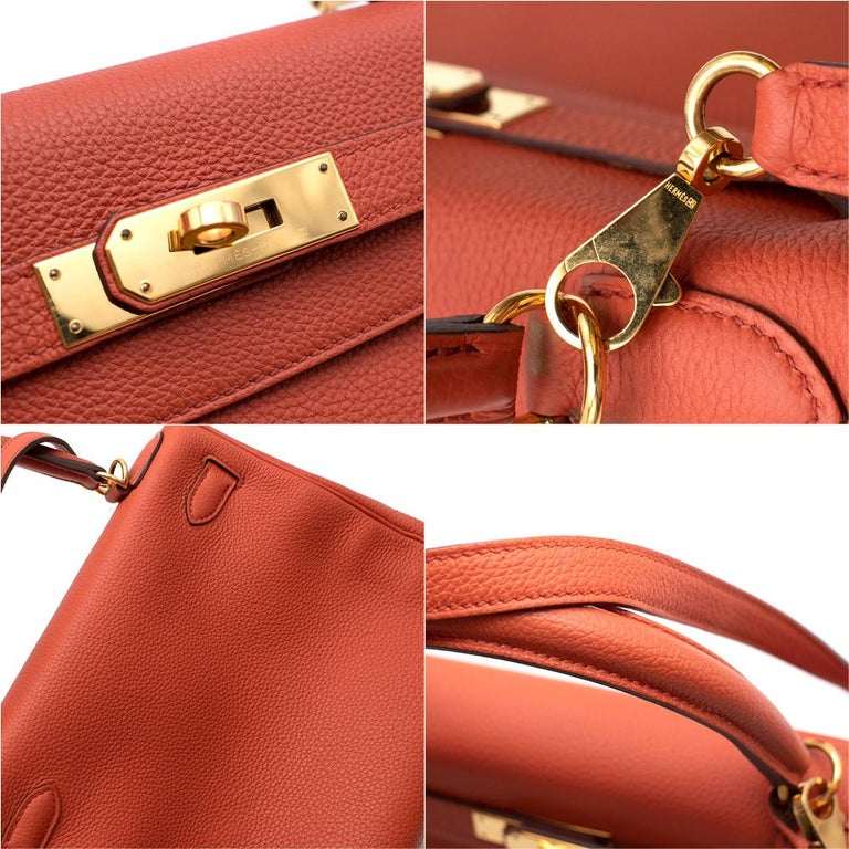 Hermès Kelly Retourné 28 in Rosy Togo Leather GHW For Sale 3