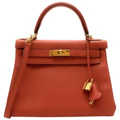 Hermès Kelly Retourné 28 in Rosy Togo Leather GHW