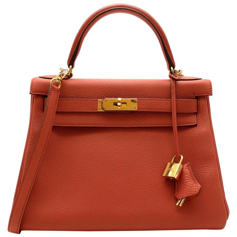 Hermès Kelly Retourné 28 in Rosy Togo Leather GHW For Sale