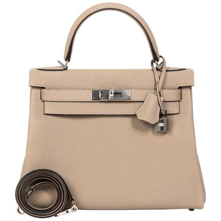 Hermès Kelly Retourne 28 Togo Gris Tourterelle PHW For Sale