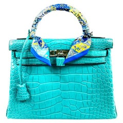 Hermès Kelly Retourne 32 Alligator Mississippiensis Mat Handbag w/ Scarf