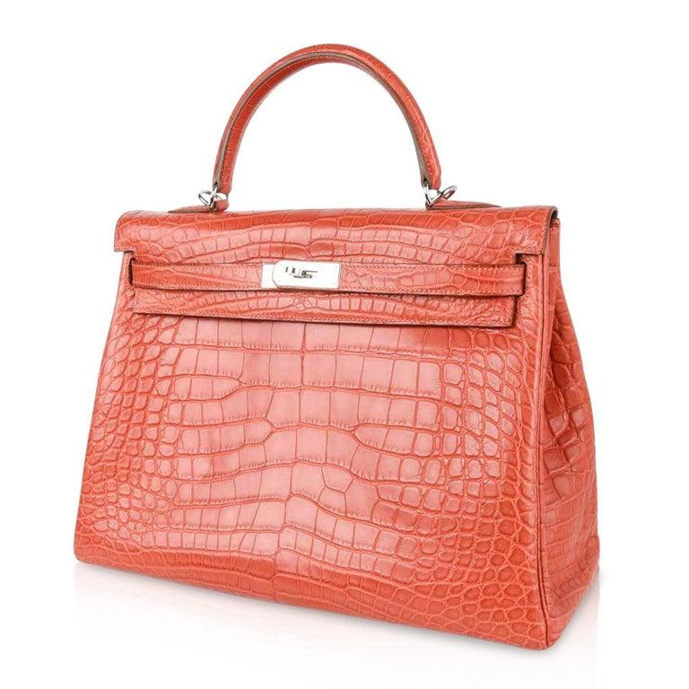 Hermes Kelly Retourne Bag 35 Supple Matte Alligator Sanguine Palladium For Sale 5