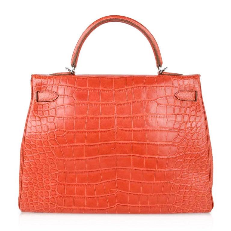 Hermes Kelly Retourne Bag 35 Supple Matte Alligator Sanguine Palladium For Sale 6