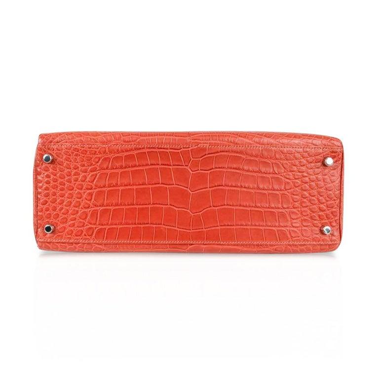 Hermes Kelly Retourne Bag 35 Supple Matte Alligator Sanguine Palladium For Sale 7
