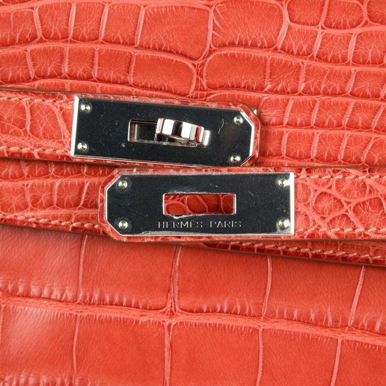 Hermes Kelly Retourne Bag 35 Supple Matte Alligator Sanguine Palladium In New Condition For Sale In Miami, FL