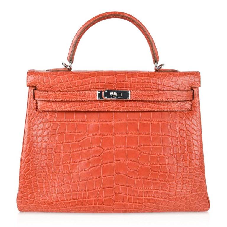 Hermes Kelly Retourne Bag 35 Supple Matte Alligator Sanguine Palladium For Sale 2