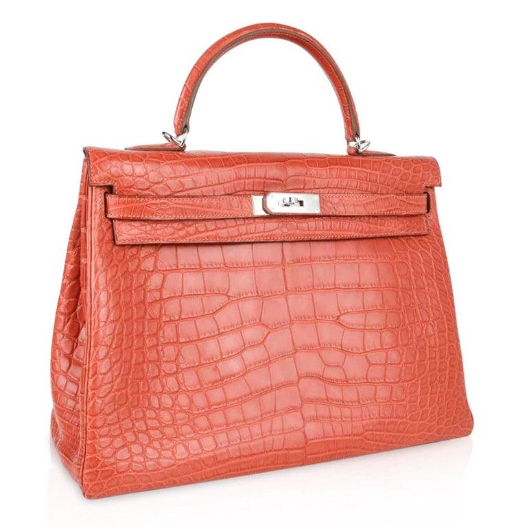 Hermes Kelly Retourne Bag 35 Supple Matte Alligator Sanguine Palladium For Sale 3