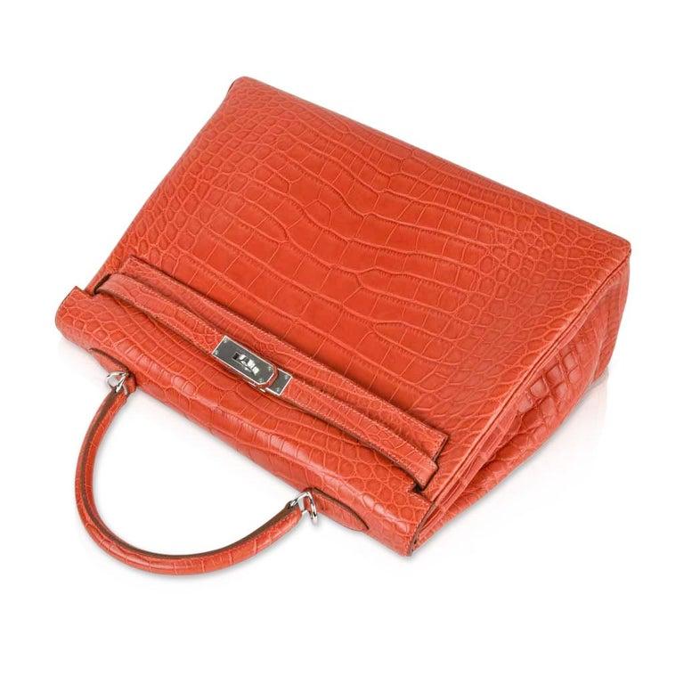 Hermes Kelly Retourne Bag 35 Supple Matte Alligator Sanguine Palladium For Sale 4