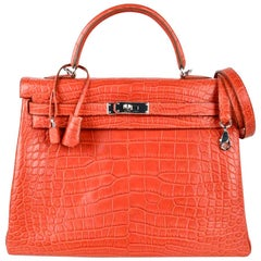 Hermes Kelly Retourne Bag 35 Supple Matte Alligator Sanguine Palladium