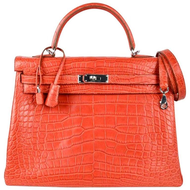Hermes Kelly Retourne Bag 35 Supple Matte Alligator Sanguine Palladium For Sale