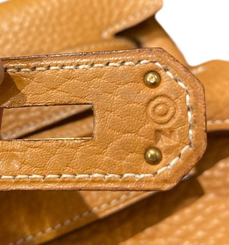 Hermès Kelly Retourne Handbag Gold Fjord Leather with Gold Hardware 40, 1985.  For Sale 8