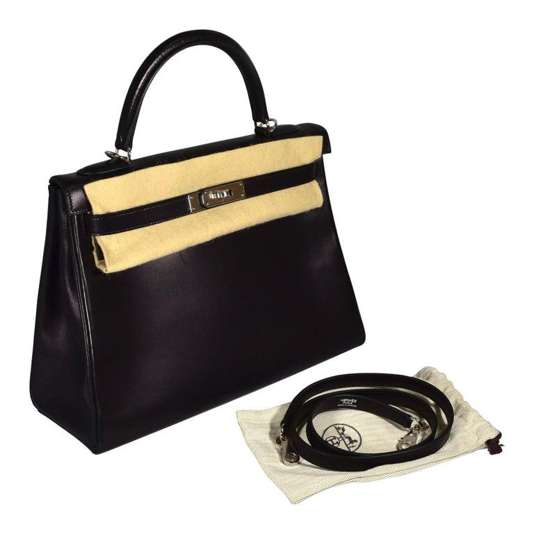Hermes Kelly Retourné Noir Palladium Hardware Handbag For Sale