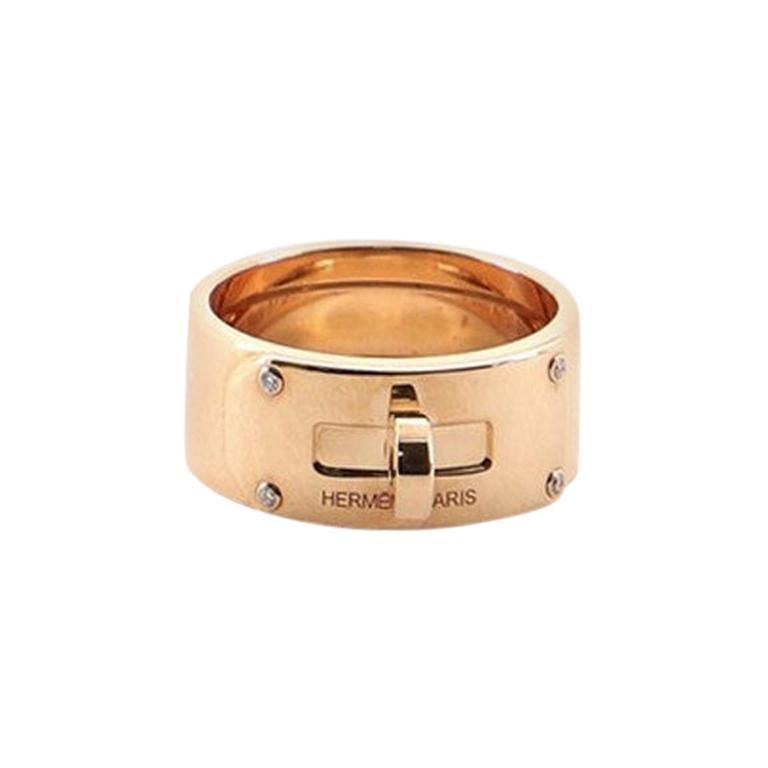 Hermes Kelly Ring 18 Karat Rose Gold with Diamonds GM 5.25