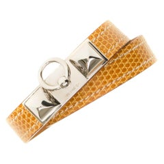 Hermès Kelly Rivale double tour bracelet in beige lizard and silvery hardware