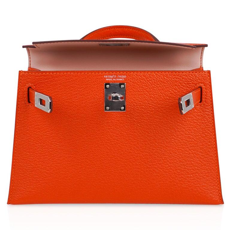 Hermes Kelly Mini Sellier 20 Bag Feu / Rose Eglantine Chevre Bi-color Palladium For Sale 5