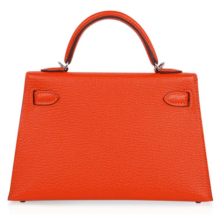 Hermes Kelly Mini Sellier 20 Bag Feu / Rose Eglantine Chevre Bi-color Palladium For Sale 6