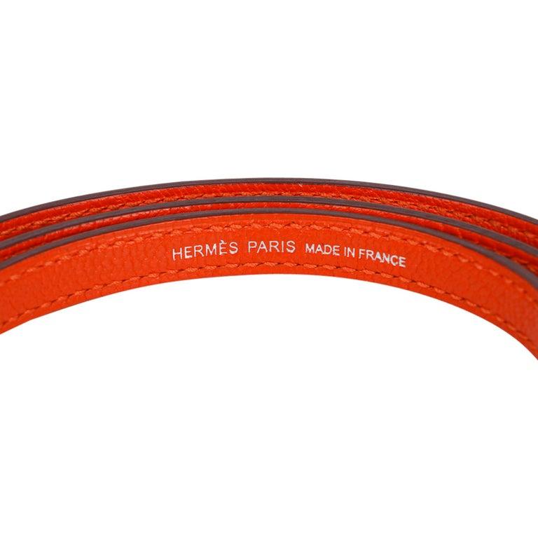 Hermes Kelly Mini Sellier 20 Bag Feu / Rose Eglantine Chevre Bi-color Palladium For Sale 8