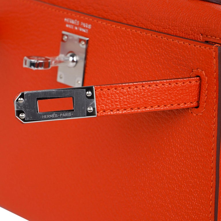 Red Hermes Kelly Mini Sellier 20 Bag Feu / Rose Eglantine Chevre Bi-color Palladium For Sale