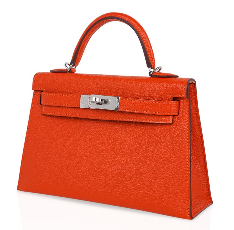 Hermes Kelly Mini Sellier 20 Bag Feu / Rose Eglantine Chevre Bi-color Palladium For Sale 1