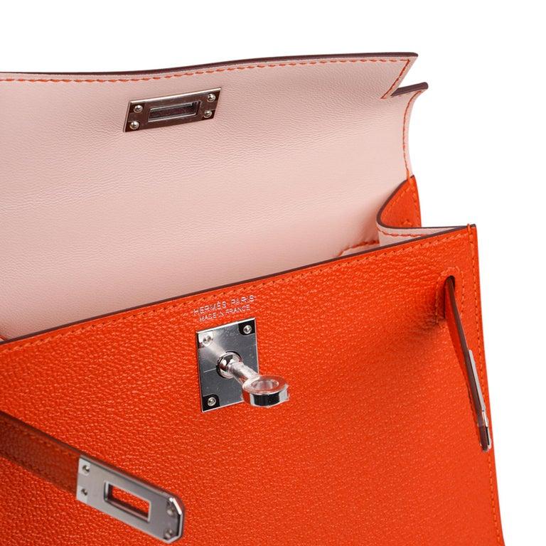 Hermes Kelly Mini Sellier 20 Bag Feu / Rose Eglantine Chevre Bi-color Palladium For Sale 2